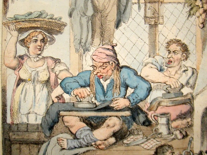 thomas-rowlandson-1823-hand-col-etched-caricature-of-a-tailor-s-workshop.-[2]-91510-p
