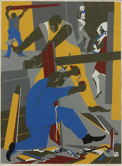 Title: Builders No. 3 Artist: Jacob Lawrence (1917–2000) Nationality: American Date: 1974 Medium: color screenprint Credit: Gift of Paul S. D'Amato, LS 1985.3.2. © Jacob Lawrence/Artists Rights Society (ARS), New York