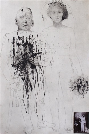 Jiří Anderle, Solider and Bride, 1980, drypoint and mezzotint with photograph. 1988.2.